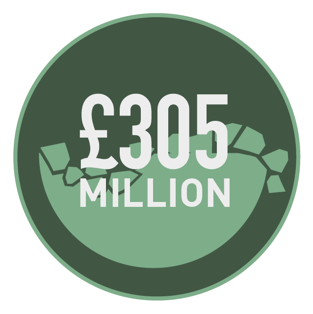 Roundel icon showing three hundred and five million pounds